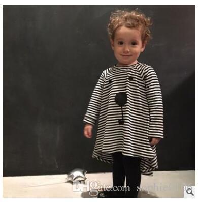 Fille Noir Blanc Rayé Arrière Longue Robe Courte Bébé Printemps et Automne Robes À Manches Longues Jupes Vêtements Pour Enfants ZHT 114