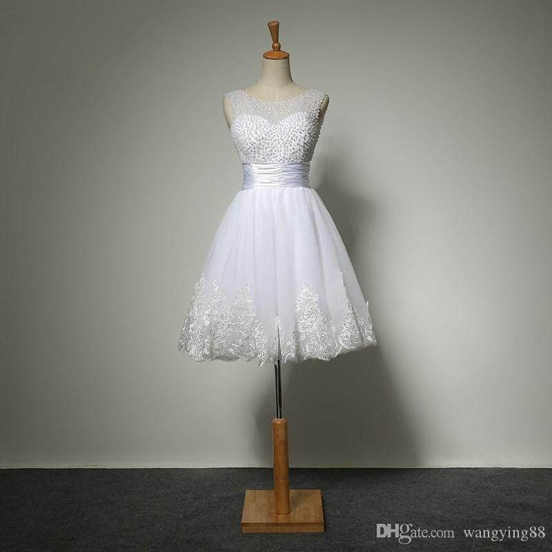 Yeni beyaz kısa gelinlik gelinler seksi dantel gelinlik gelin kıyafeti artı boyutu vestido de noiva gerçek örnek