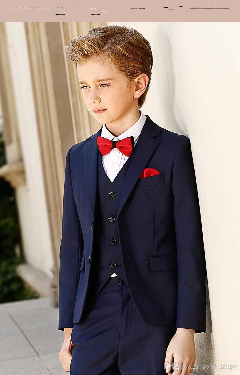 Alta calidad Azul marino Boy Formal Occasion Wear Kid Attire Wedding Apparel Blazer fiesta de cumpleaños traje de fiesta (chaqueta + pantalones + tie + chaleco) NO 3