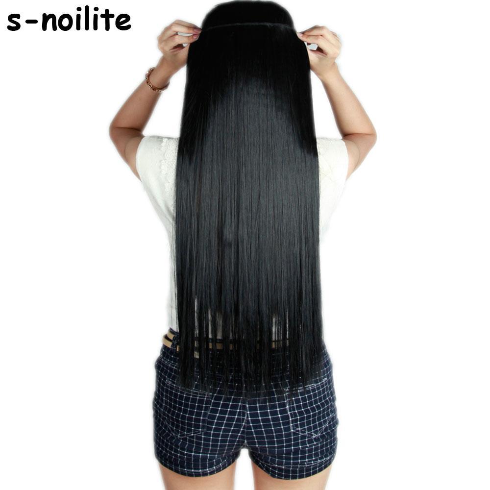 S-Noilite Güze Bel 46-76 cm İnsan Saç Uzantıları için En Uzun Klip Tek Parça Gerçek Doğal Kalın Sentetik Saç Uzatma