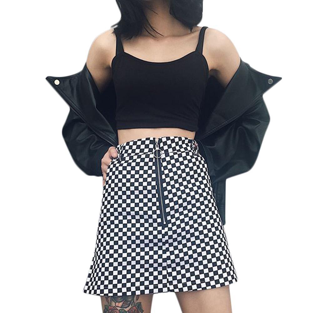 gran descuento f67c0 a0fea Compre 2018 Nueva Moda Mujeres Checkboard Faldas A Cuadros Cremallera  Anillo A Line De Cintura Alta De Verano De Las Señoras Casual Mini Faldas  Faldas ...