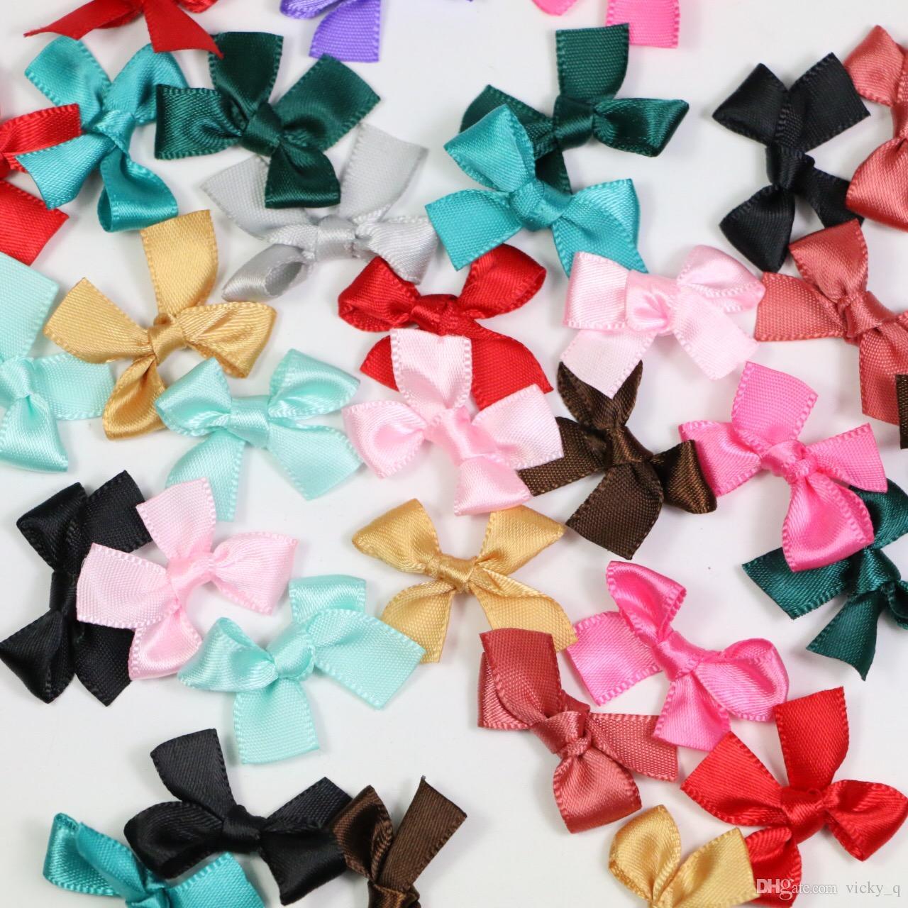 30 * 25mm colorato raso di seta mini nastro di raso piccoli archi capelli applique mestiere decorazione artificiale per baby shower festa di nozze 1000 pz