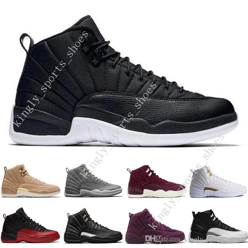 2018 12 12s men basketball shoes Wheat Dark Grey Bordeaux Flu Game The Master Taxi Playoffs University French Blue Gym Red Sports sneakers