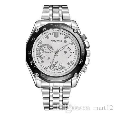 Водонепроницаемый стальной ремень кварцевые часы мужской сплав три глаза шесть иглы мужские часы мужской часы OUKG018
