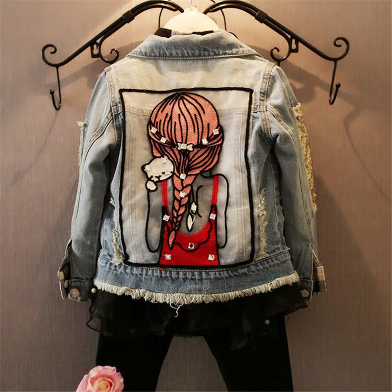 아동 여자 자켓 차가운 아이 긴 소매 끄기 칼라 버튼 코트 포켓 소녀 패턴 데님 겉옷 아이 옷 Y1891203