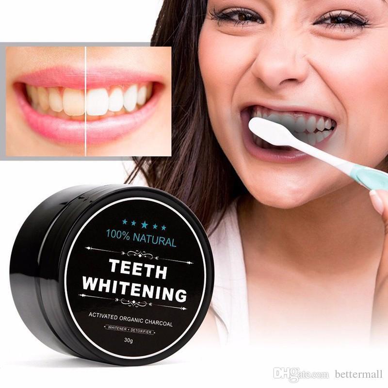 100 % 자연 치아 청소 분말 대나무 활성 숯 30g 치아 미백 화장품 공장 밀봉 DHL 무료