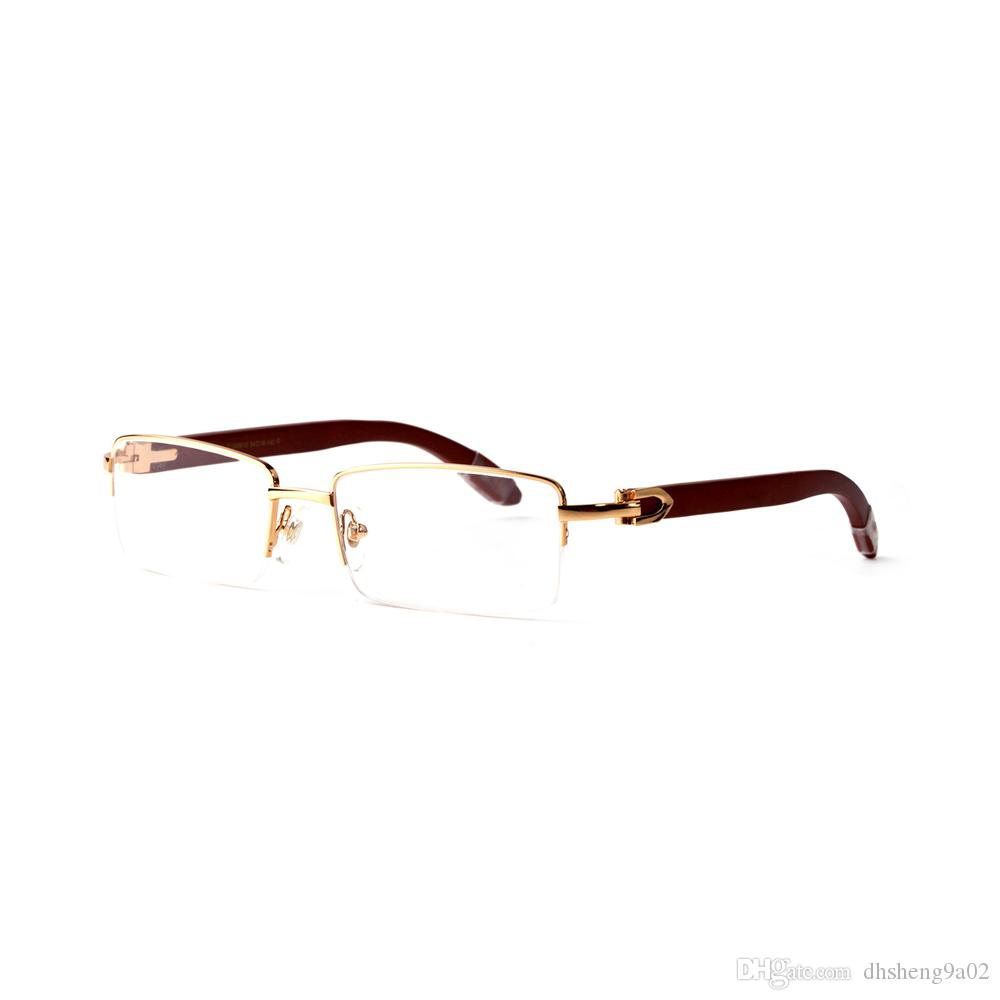 Made in France Top-Qualität Marken-Designer Halbrandmetall Gläser Unisex Holz Herz Scharniere Sonnenbrille mit Fall Tuch Box