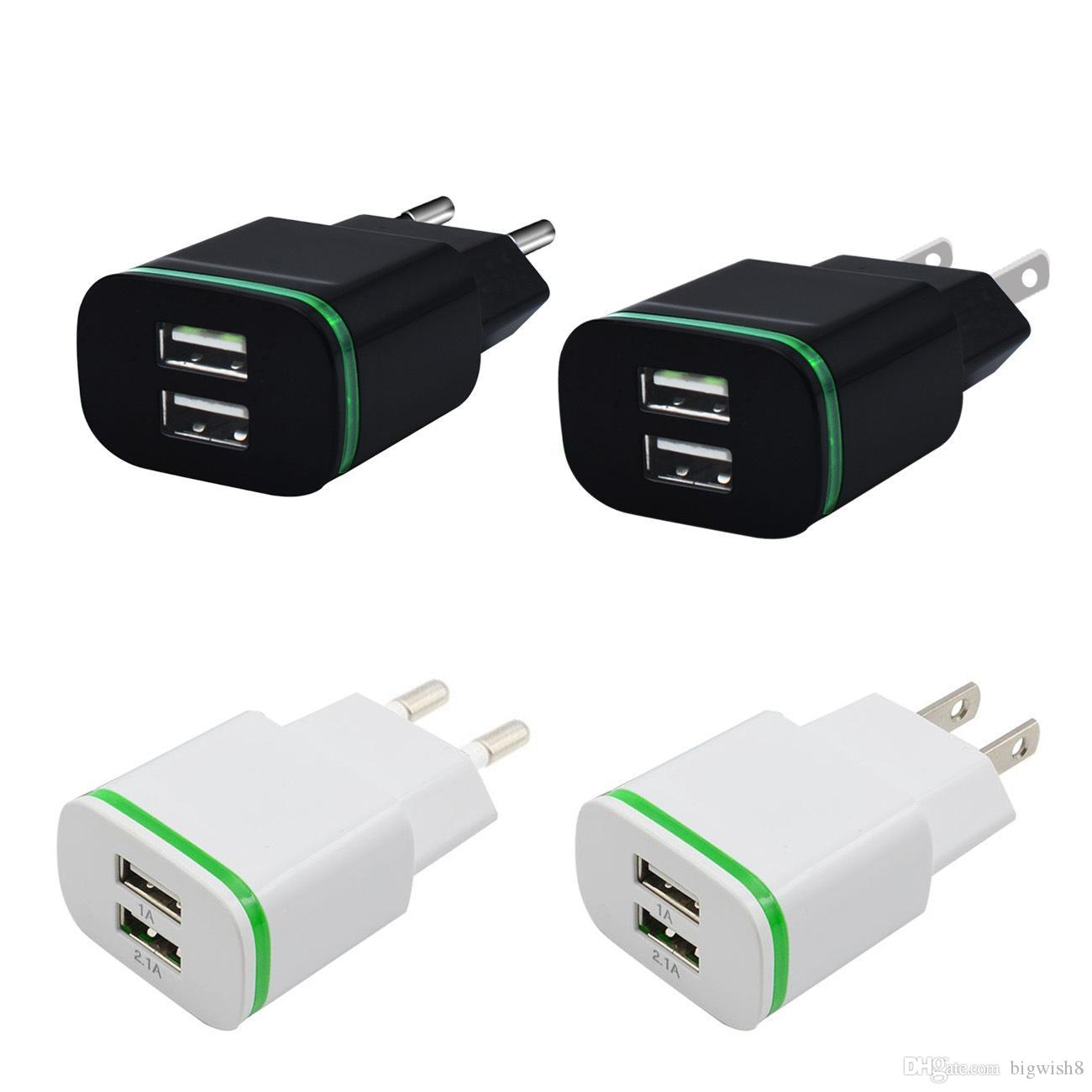 Nice products sales 5V 2.1A Dual USB Ports Led Light phone Charger Adapter Universal Charing Adapter for iphone Samsung HTC LG Cell phone