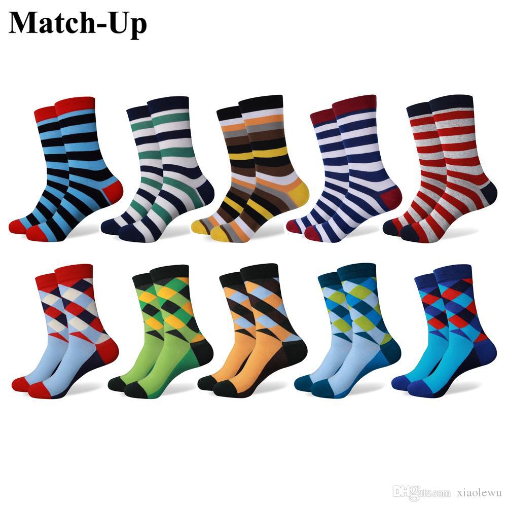 Renkli argyle renk çizgili taraklı Moda erkekleri taraklı Pamuklu çoraplar taytlı çoraplar (10 Çift / grup)