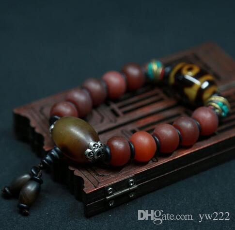 Naturalna stara czerwona agat bransoletka DZI agat Retro ręka sznurek tybetańskich Buddha