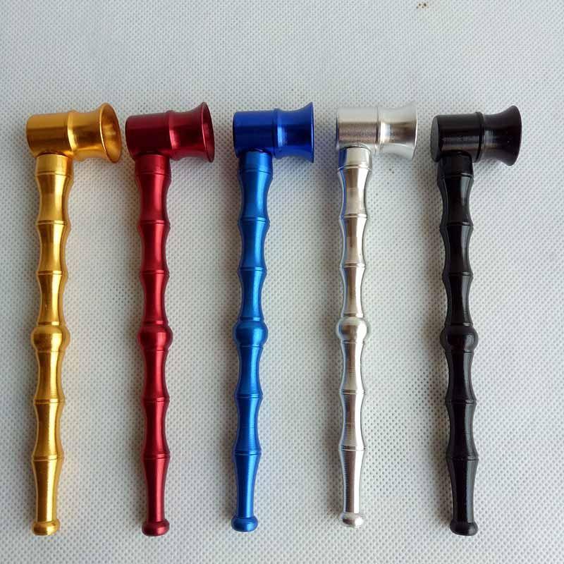 Bambù congiunta in alluminio sigaretta metallo tubo di fumo tabacco a mano porta cigari filtro cucchiaio tubi ciotola 6 colori strumenti accessori