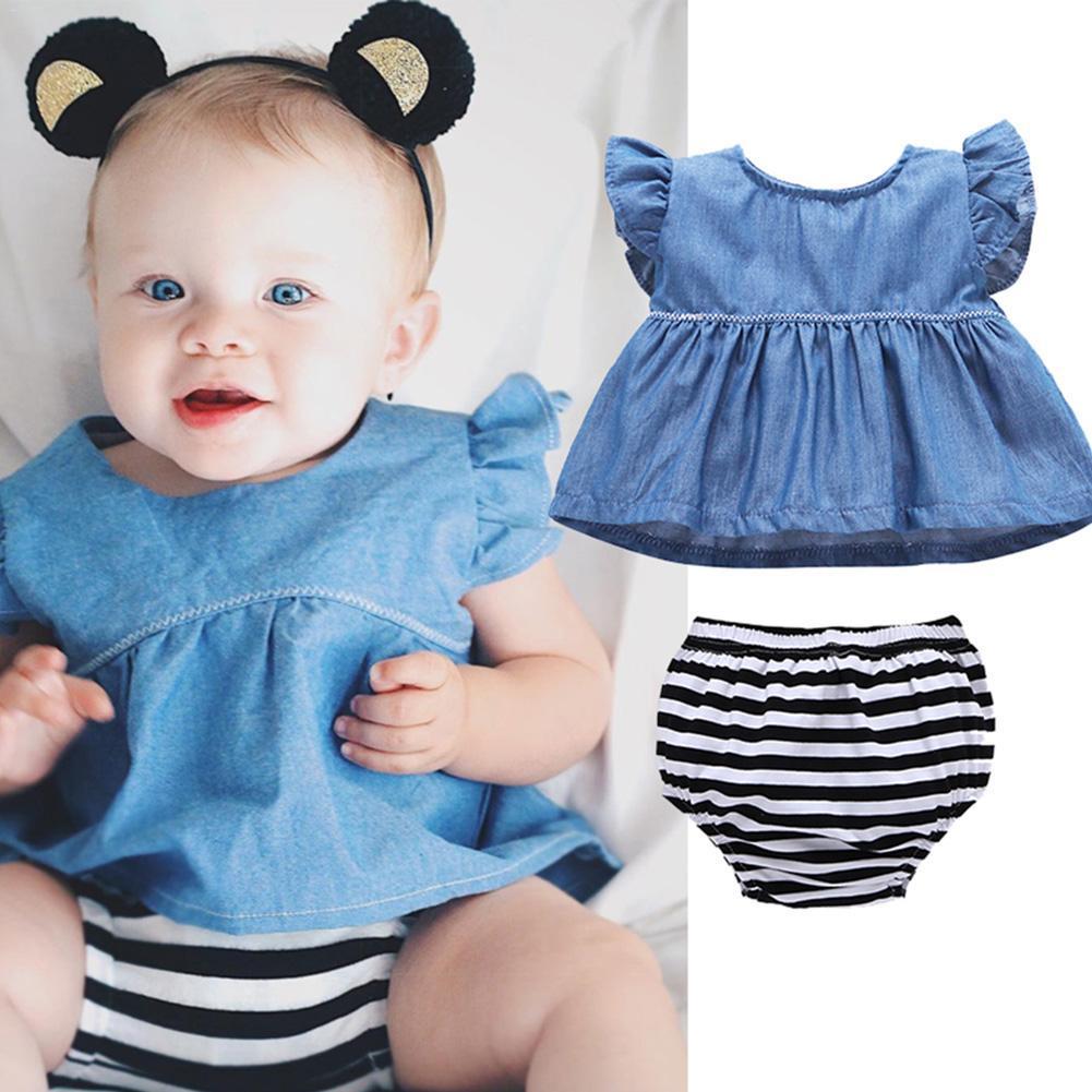 Комплект из двух частей Модная детская расклешенная цветочная одежда Топы и шорты для детей от 0 до 3 лет