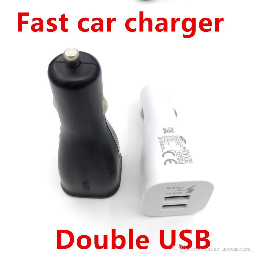 100pcs/lot,Double USB Fast car charger Adapter Original 15W 9V-1.67A or 5V-2A For samsung Note 4 5 S6 S7 Edge
