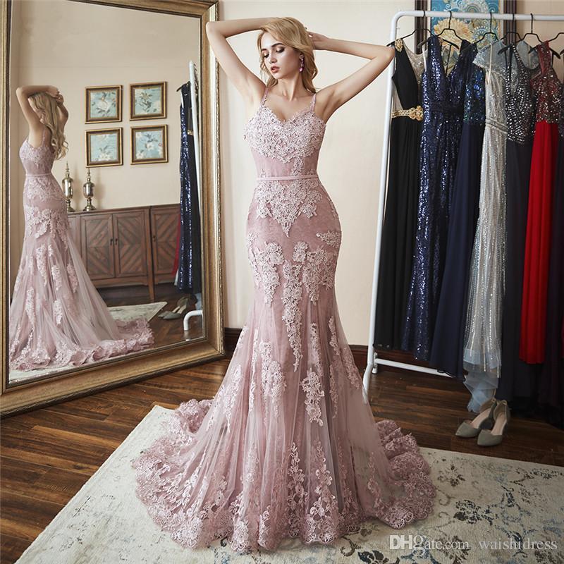 2018 платье-пюре из розового тюля с русалкой и выпускным платьем сексуальное спагетти с v-образным вырезом длинные вечерние платья с скользящим шлейфом платье без спинки платье халат де бал