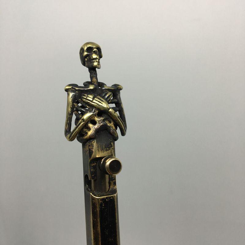 Handmade Brass Ballpoint Pen EDC Creative Retro Bolt Type Tactical Pen # A