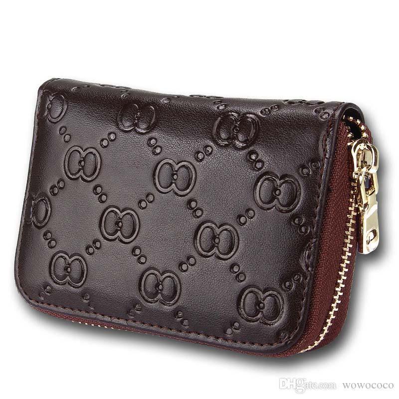 Donne Grain Goffratura Titolare della carta cerniera dell'organo Breve borsa della borsa del portafoglio Borse in vera pelle 7 colori W087
