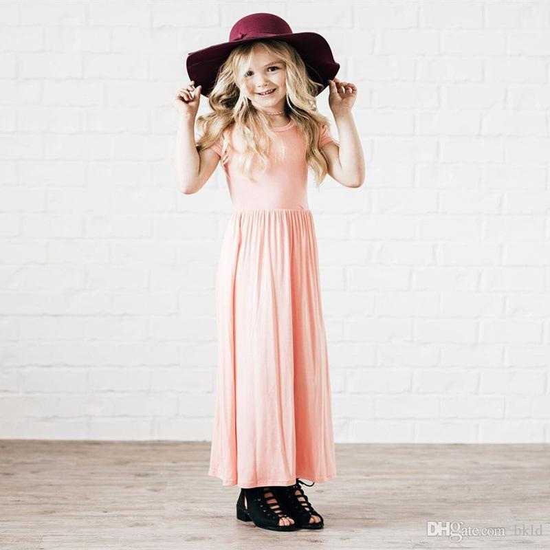 جديد طفلة فستان الأميرة فساتين قصيرة الأكمام بلون الأطفال 2018 الصيف موضة اللباس ملابس للأطفال الفتيات
