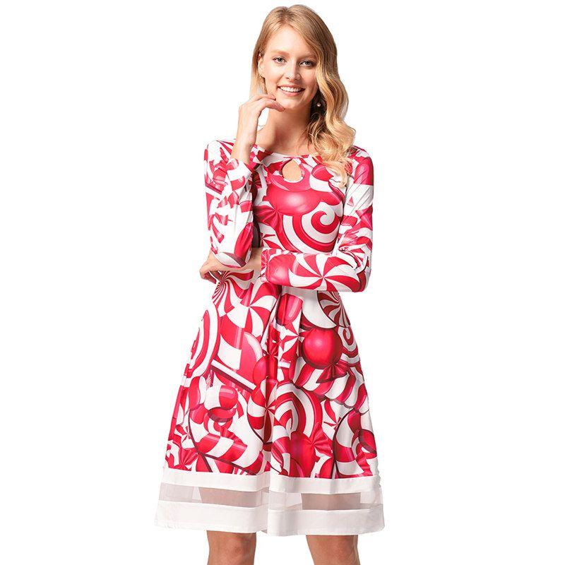 2018 Women Xmas Costume Winter Cute Streetwear Long Sleeve Ladies Empire Christmas Red Candy Mini Dress