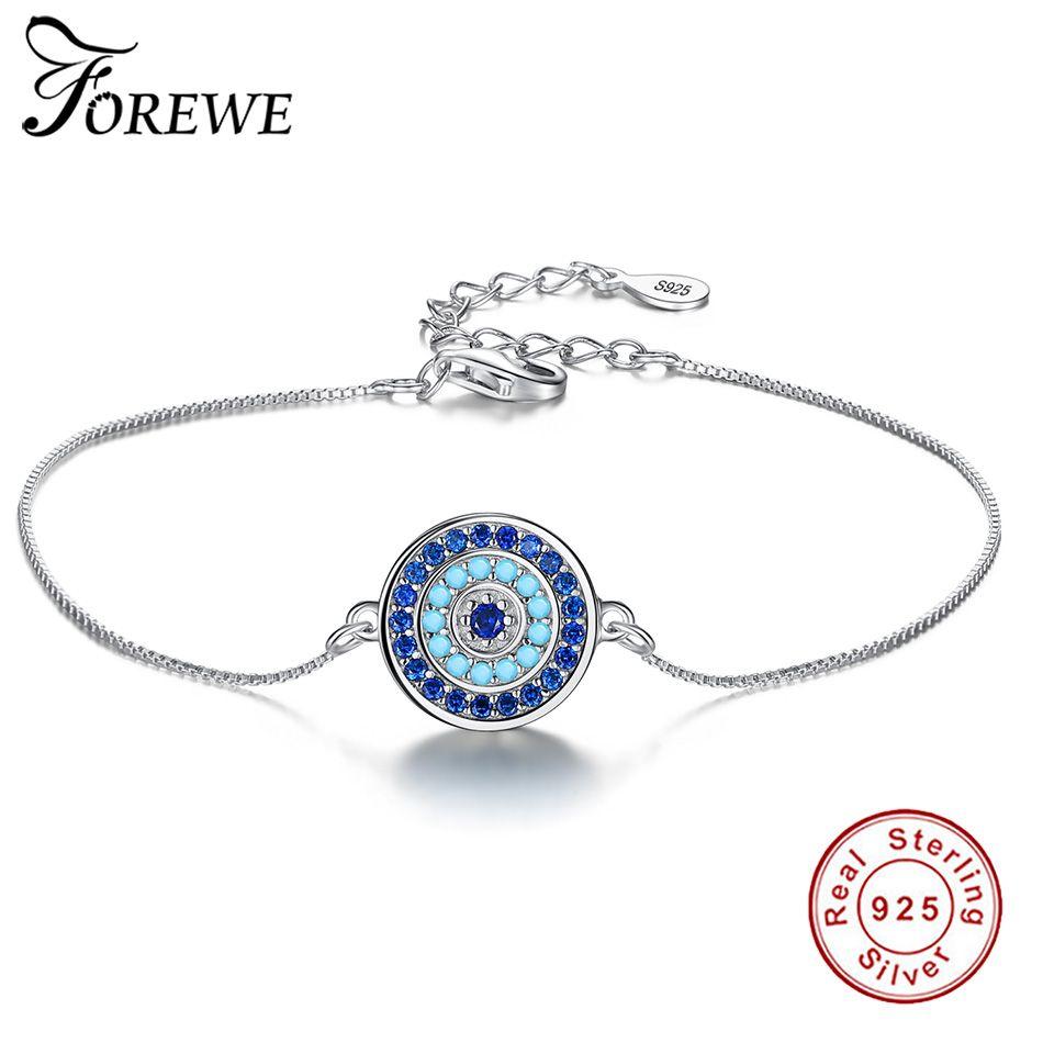 Forewe 2018 turco afortunado azul cristal rodada evil eye pulseira cadeia ajustável 925 pulseiras de prata esterlina para as mulheres jóias