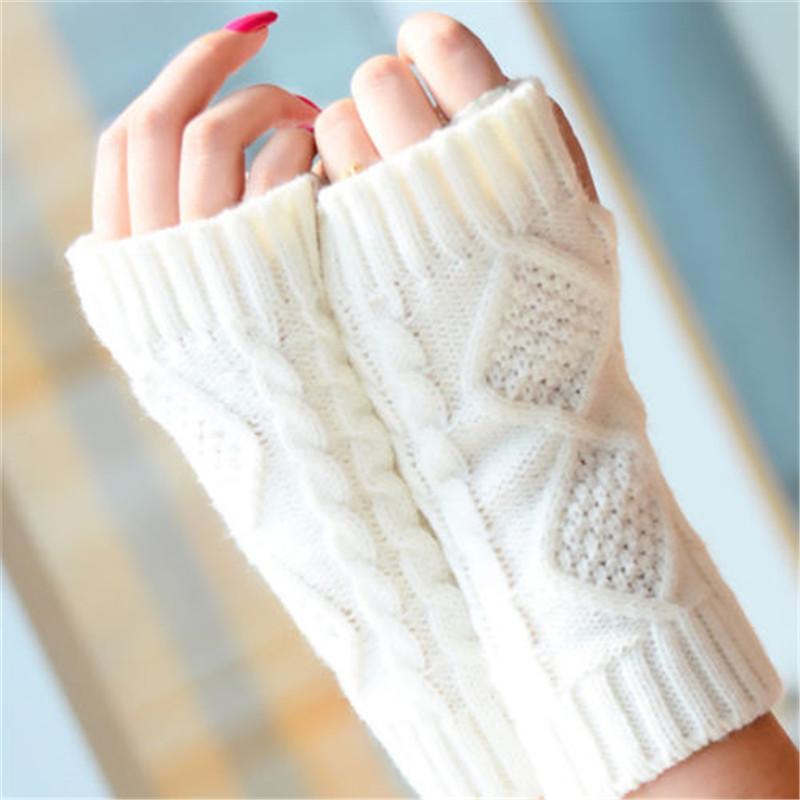 Fashion Solid Twist Winter-Handgelenk-Handschuhe Frauen-elegante gestrickte Finger halten warme Handschuhe Damen weiche Handschuhe Femme