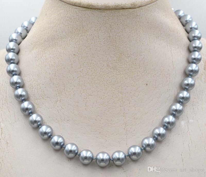 """YENI 10mm Güney Deniz gümüş gri Kabuk Inci Kolye 18 """"kristal Toka"""