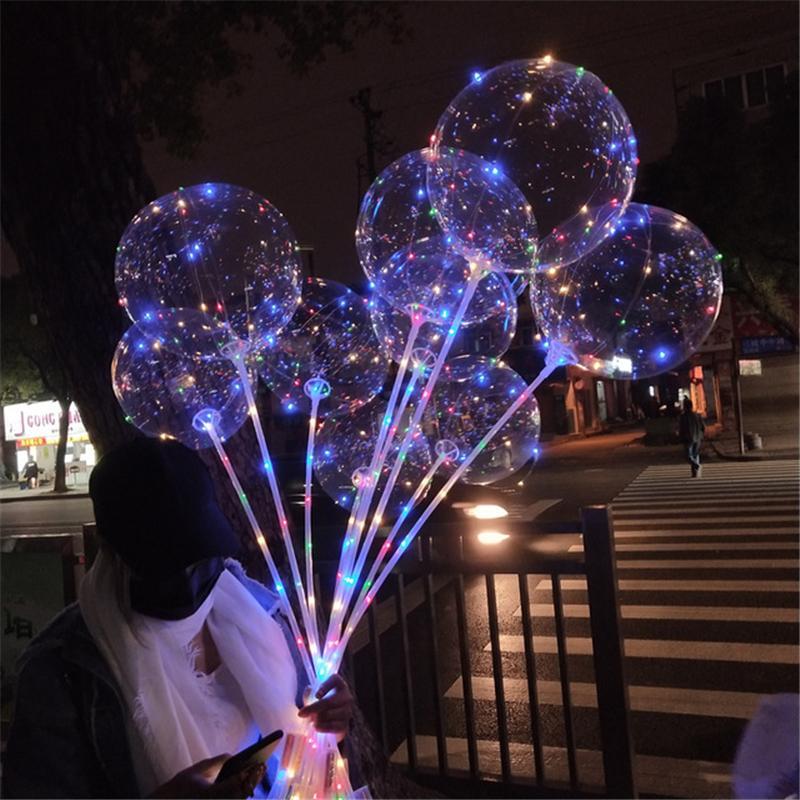 Stick ile Yeni LED Işıklar Balonlar Gece Aydınlatma Bobo topu Çok renkli Dekorasyon Balon Düğün Dekoratif Parlak Çakmak Balonlar