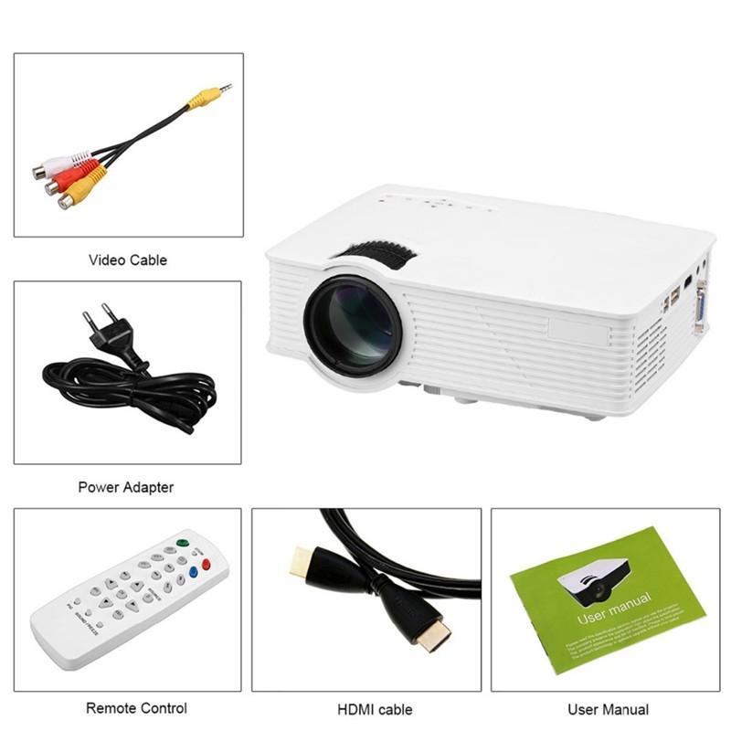 Mini LED Projector Home Theater Multimedia Player 2000 Lumens 1080P HDMI/USB/SD/AV/VGA Interface for Video Games Movie Night Family Party