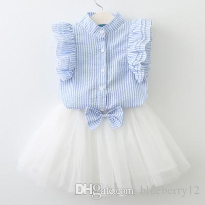 Elbise takım elbise kız çizgili petal kollu gömlek yay elbise iki parça rahat tatlı giyim
