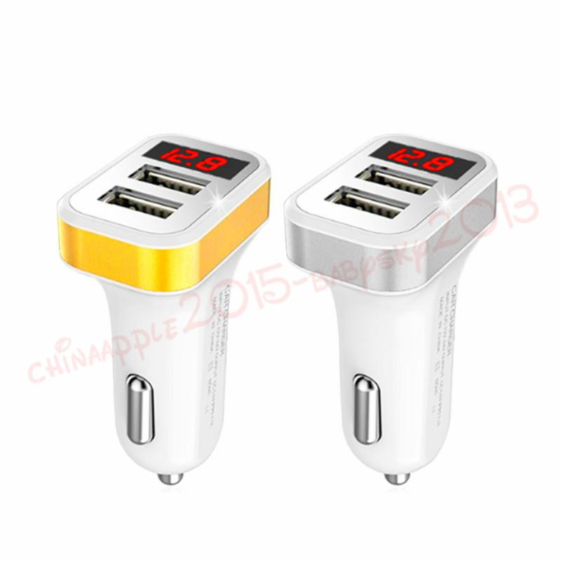 2.1A Car Charger LCD Display Dual USB Port Car chargers adapter for iphone 7 8 x samsung s7 s8 s9 android phone gps pc tablet mp3