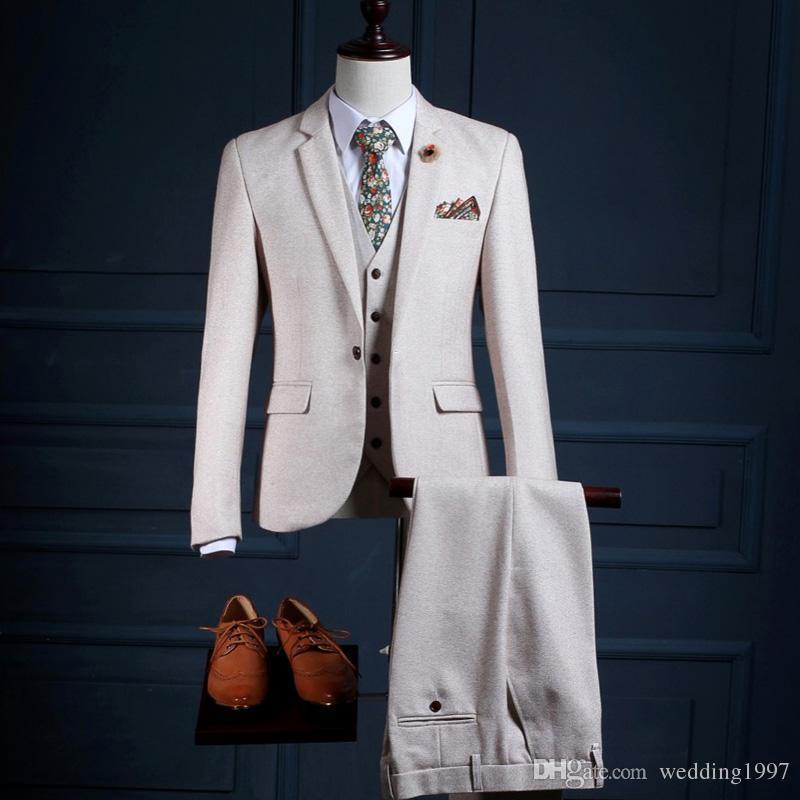 ثلاثة قطعة رجال الأعمال الرسمي الدعاوى حقق التلبيب زر واحد مخصص زفاف العريس البدلات الرسمية 2018 (سترة + سروال + سترة)