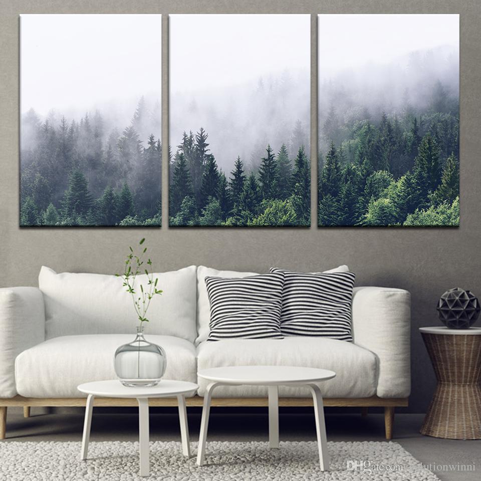 3 morceaux peinture de toile paysage montagnes arbres arbres arbres muraux peinture peinture modulaire papiers peints affiche imprimer décor