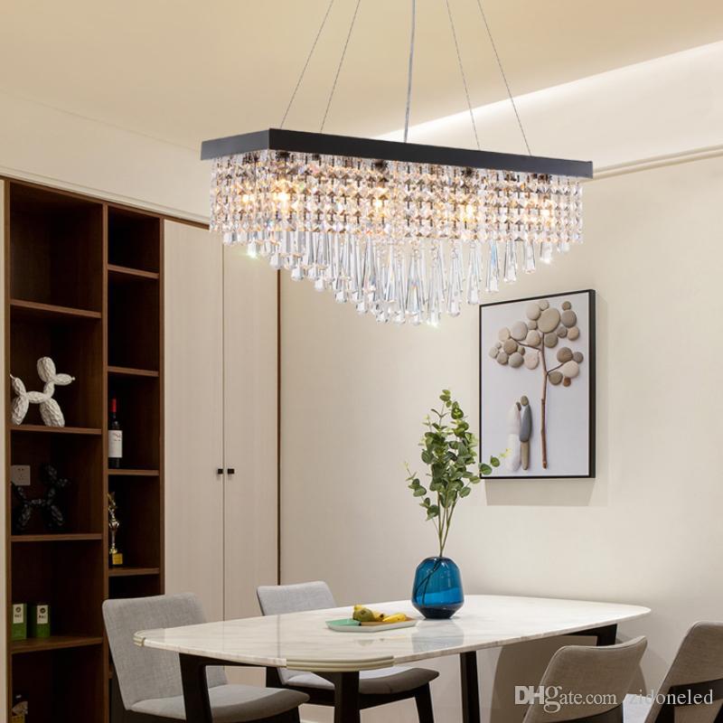 Compre Moderna Araña De Cristal Para El Comedor Rectángulo LED Iluminación  Colgante Perla Negro Acero Inoxidable Lámparas De Suspensión A $225.13 Del  ...