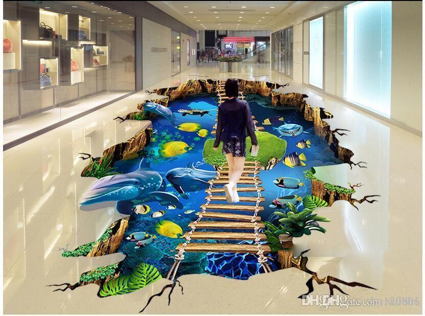 3d pvc bodenbelag benutzerdefinierte foto Wasserdichte boden wandaufkleber Ocean World Dolphin Ladder wohnzimmer 3d wandbilder wallpaper für wände 3 d