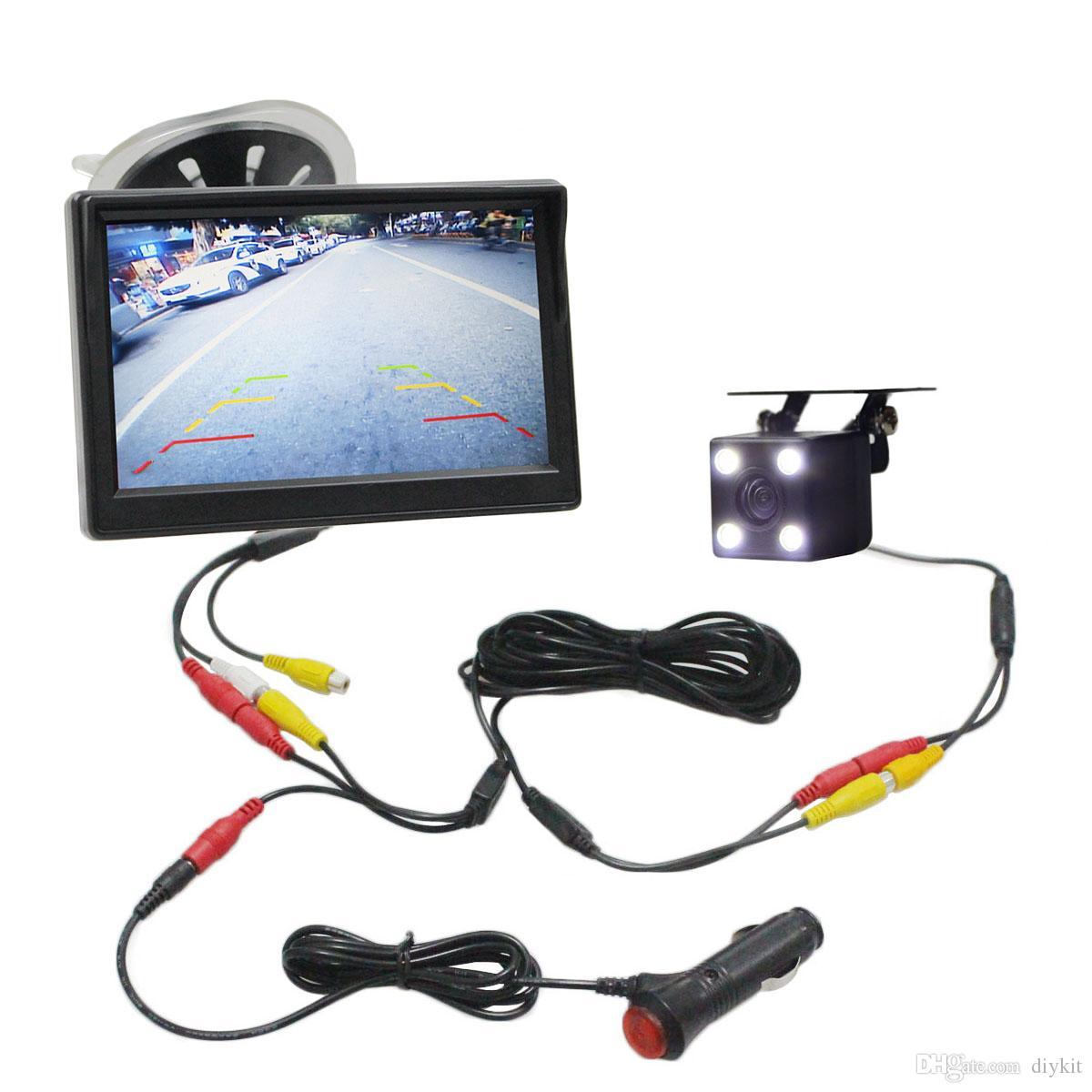 DIYKIT 5 인치 자동차 모니터 방수 역방향 LED 나이트 비전 컬러 후면보기 자동차 카메라 주차 지원 시스템