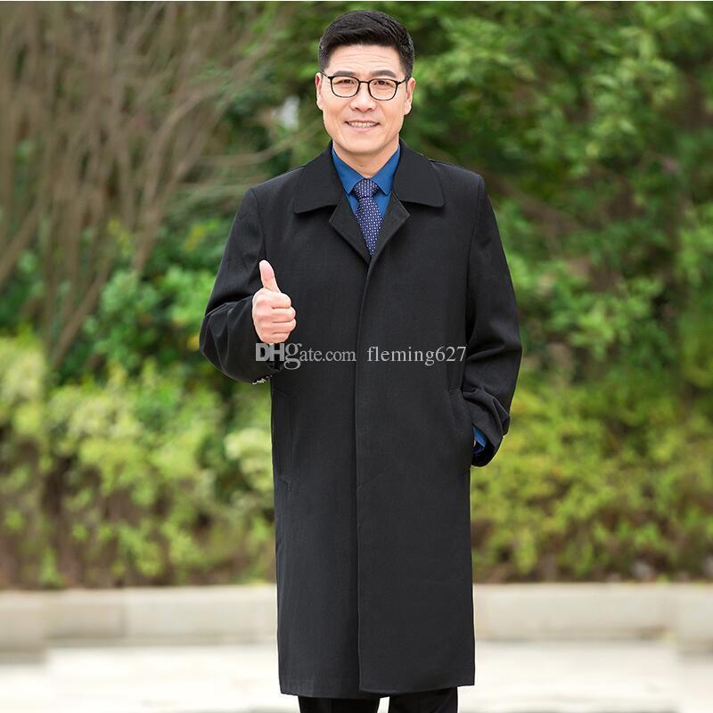 Moda wykop dla Męskie Nowy Projekt Czarny Długi Kszł Europejski Styl Wysokiej Jakości Casual Płaszcze Mężczyzna Wiosna Jesień Płaszcz