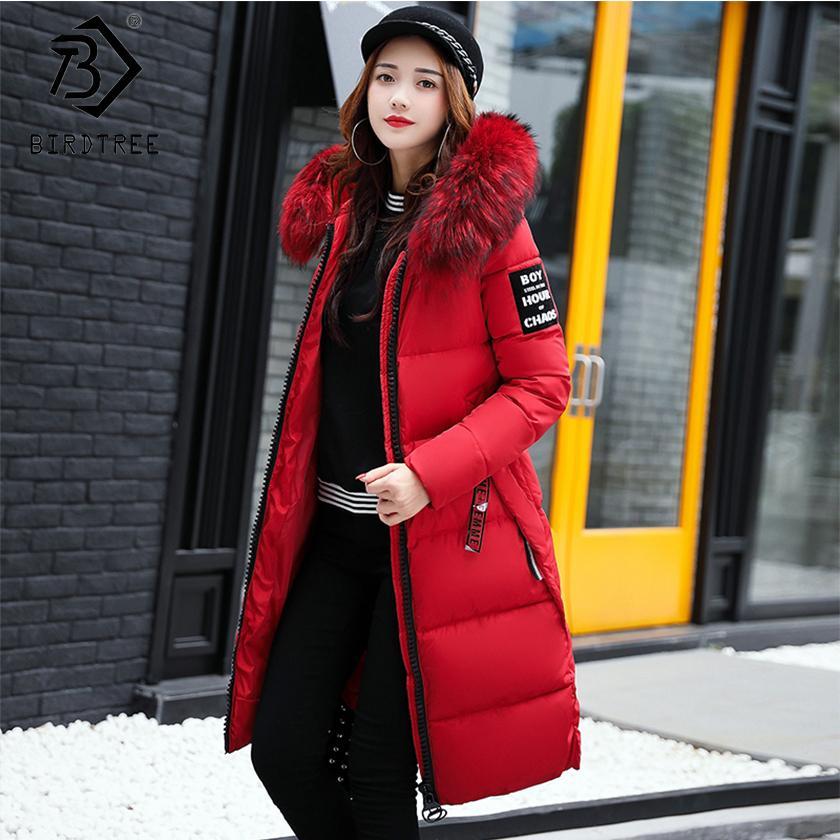 2018 Hiver Femmes Bas Parkas Hiver Veste Grande Fourrure Épaisse Mince Manteau Long De Mode Zipper À Capuche Femme Long Survêtement C88023L S18101204