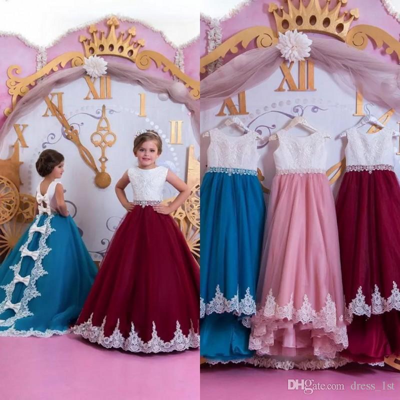 Wspaniała Księżniczka Kwiat Dziewczyna Sukienka Dla Ślubnych Kids Wiosna 2020 New Arrival Klejnot dekolt linii Biały i Burgundii Dziewczyny Suknie Korownicze
