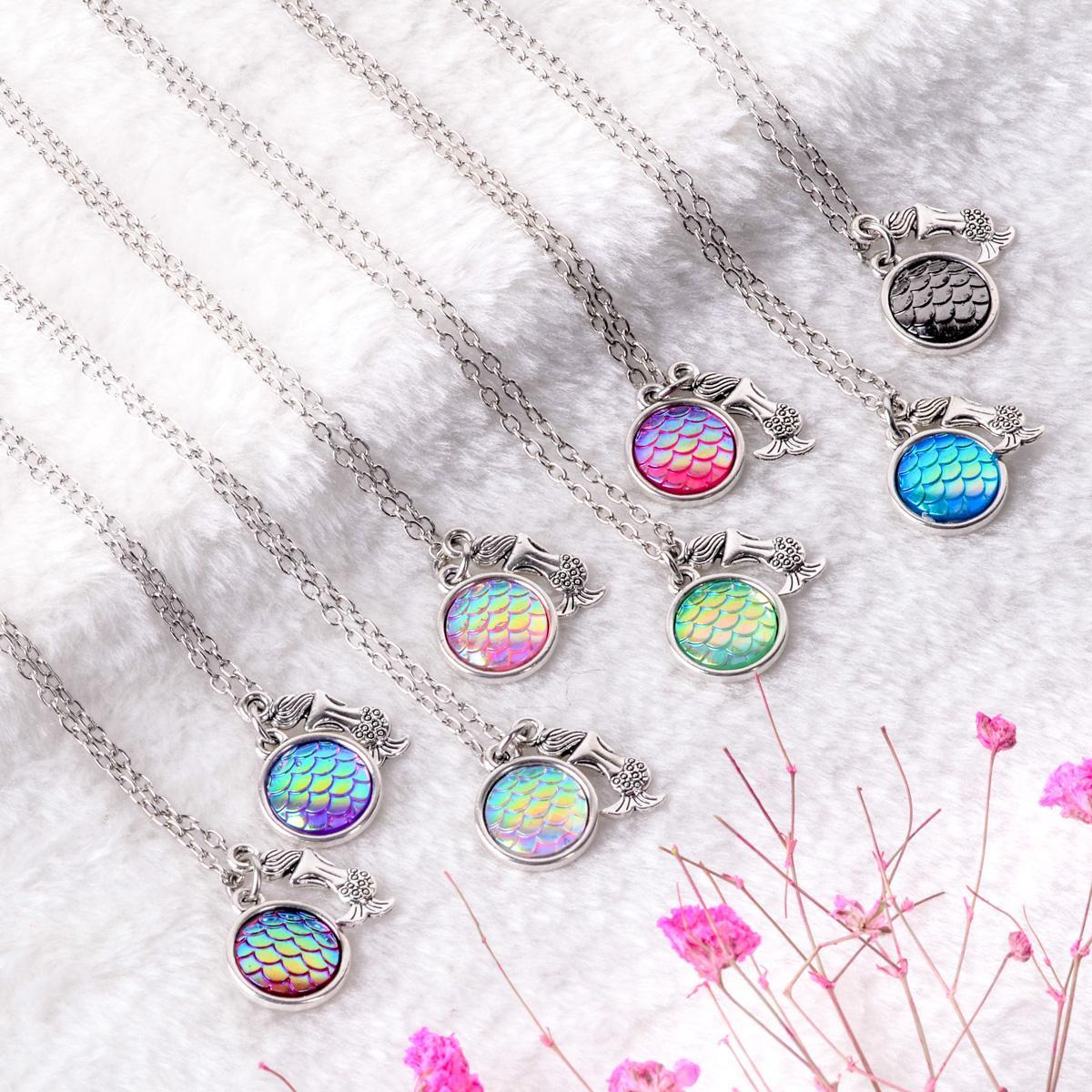 Nuovo design affascinante Neckalce AB arcobaleno colore scale a sirena ciondolo in resina fascino collane per le donne accessori gioielli donna
