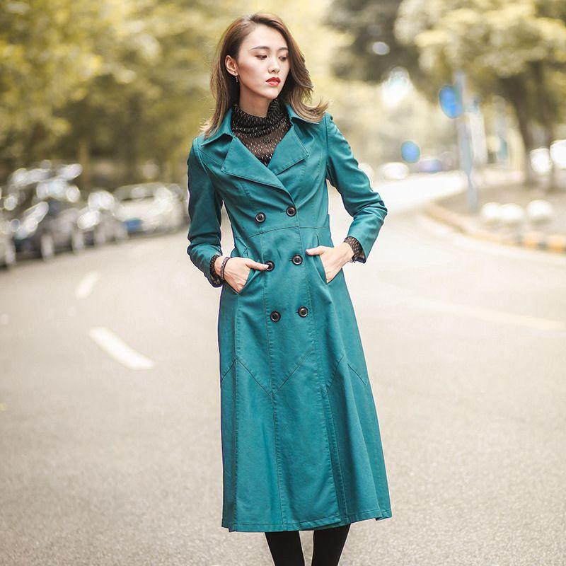 Пряжка Свободная Осень Новый Продукт Мода Длинный Фонд Одежда Женщина Кожаная Куртка Женская