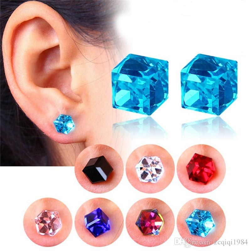 Zircon Cube Magnetic Stud Slimming Earrings Lose Weight Health Non-Pierced Earring Magnets Jewelry for Men Women