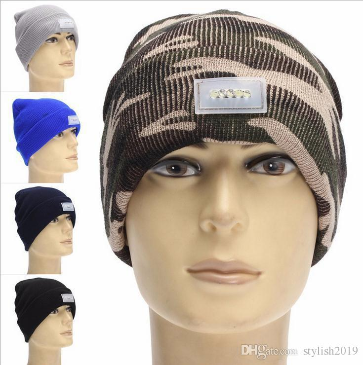 5 LED light Hat Winter Hands Free Warm Beanie Angling Hunting Camping Running Black Caps b573
