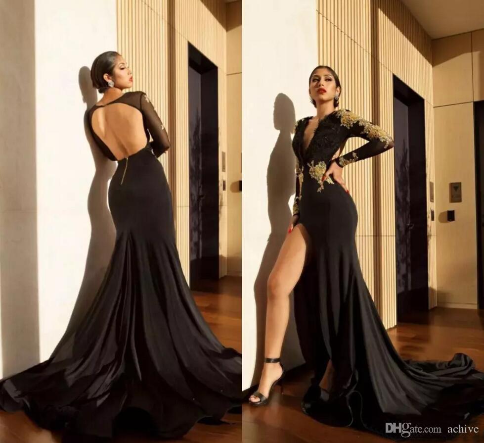 Seksi Siyah Uzun Kollu Mermaid Abiye Kadınlar Biçimsel için 2020 Altın Dantel Aplike Yüksek Bölünmüş Uzun Gelinlik Modelleri Backless Parti Abiye