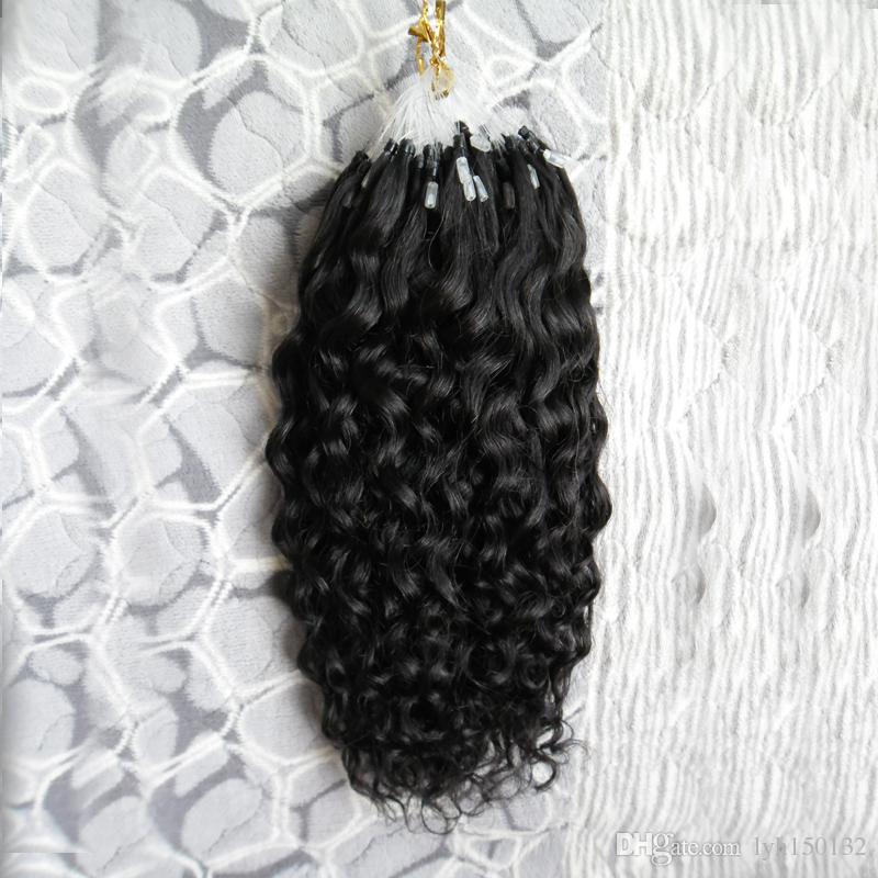 7a Micro Loop de Cabelo Humano Extensões Brasileiras 100G Virgem Encaracolado Chinês cabelo preto Micro Loop Extensões de Cabelo profundo Encaracolado