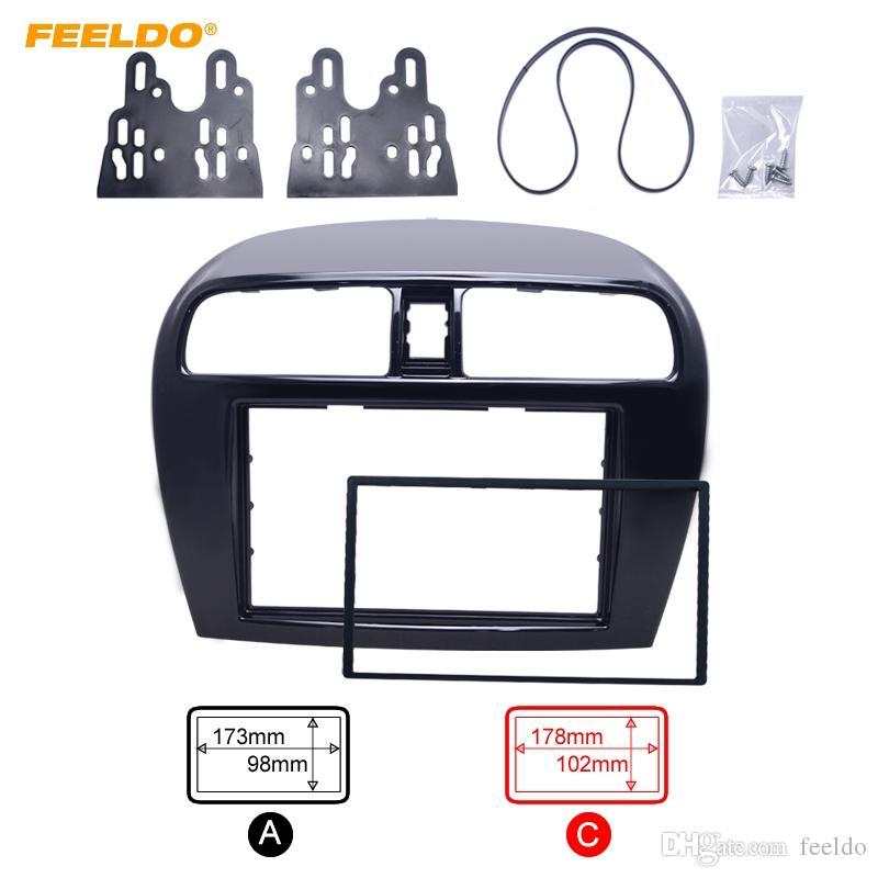 FEELDO Double Din Radio Fascia para Mitsubishi Mirage / Space Star Radio DVD Stereo Panel Dash Trim Frame Kit de instalación # 5084