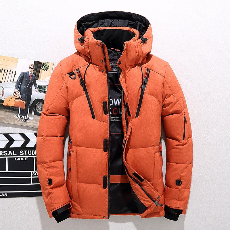 Winter neue Männer Outdoor-Daunenjacke kurze verdickte einfarbige Herren Daunenjacke mit Kappe