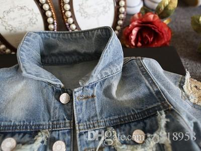 lovely Spring 2018 new style children's wear girls' short sleeved cardigan baseball jacket middle girl jacket jacket