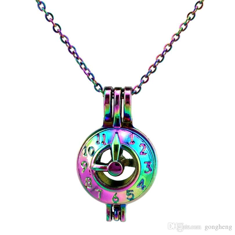 C600 Rainbow Color lovely Clock Number pointer Beads Cage Pendant Essential Oil Diffuser Aromatherapy Pearl Cage Locket Pendant Necklace