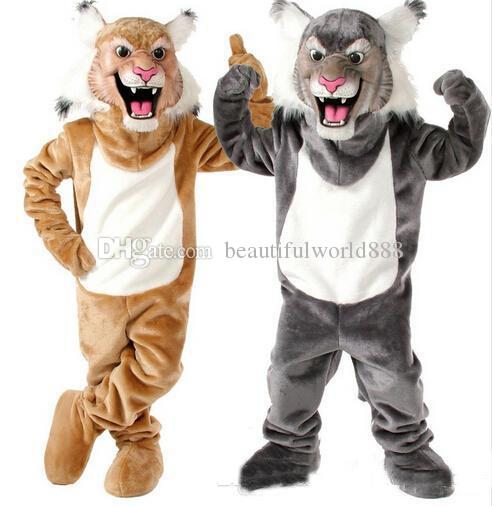 2018 High quality hot Grey /Tan Wildcat Bobcat Mascot Costume for Halloween christmas Party Costume Character Outfit Fancy dress.