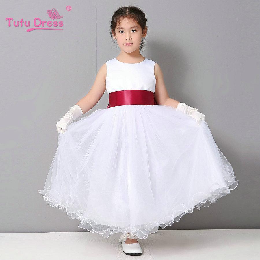 Compre Vestidos De Niña De Flores Boda De Pascua Dama De Honor Juvenil Blanco Rizo Vestido De Niña Princesa A 2714 Del Cxk2 Dhgatecom