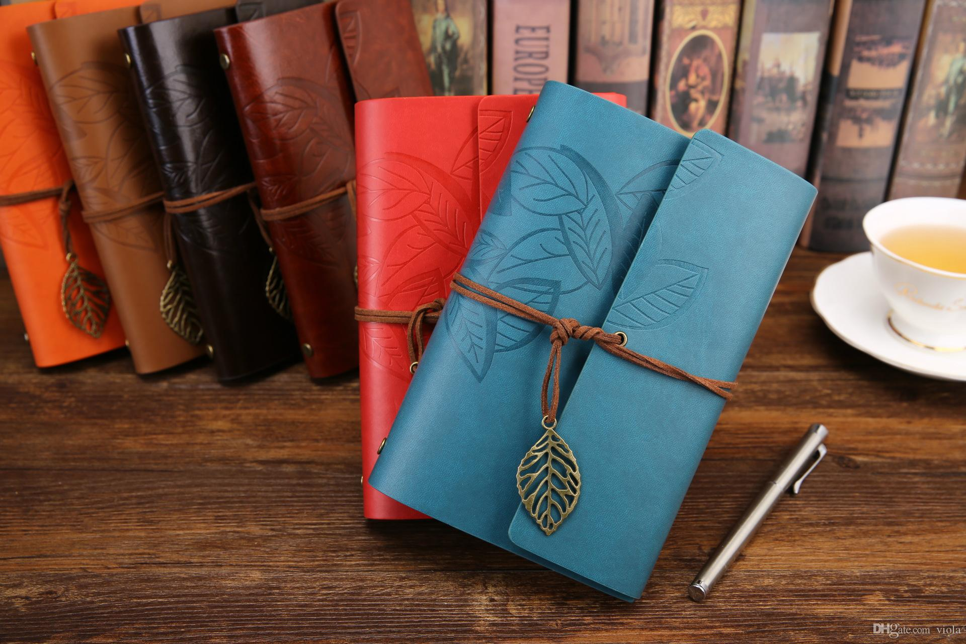 Vintage Classic notepads Journal split PU leather Cover Business office Notebook Diary travel loose-leaf Notes Book Free Shipping
